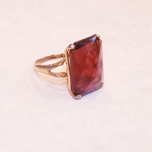 Vintage Simulated Brown Topaz & Gold Ring